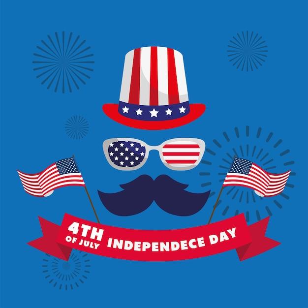 Indépendance des états-unis avec chapeau haut de forme et moustache