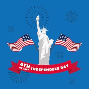 Indépendance Des états-unis Avec Statue De La Liberté Vecteur Premium