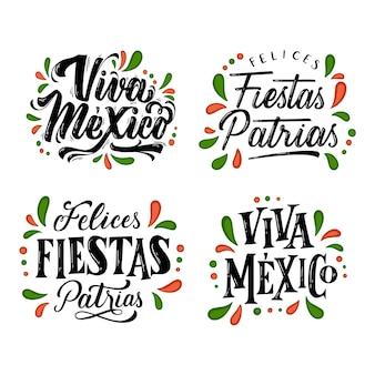 Indépendance des insignes de lettrage du mexique