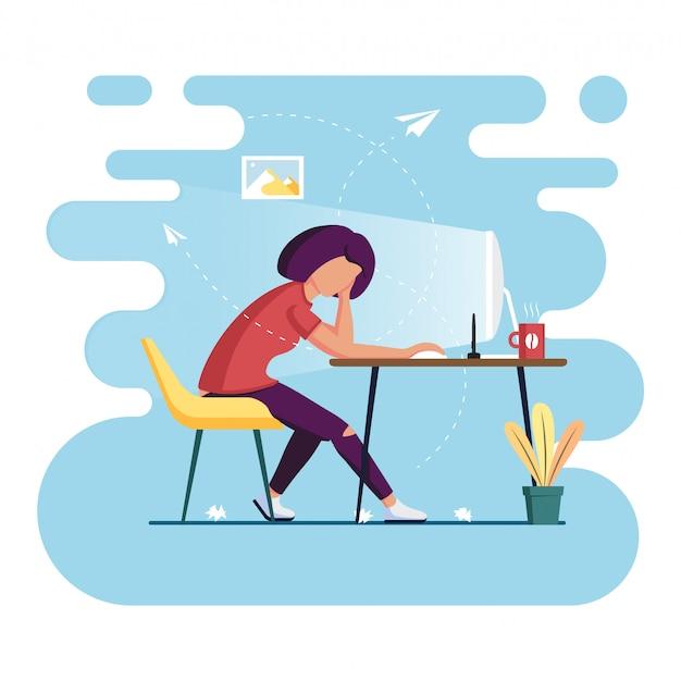 Indépendant de la maison. processus de travail. concept d'auto-isolement. illustration plate