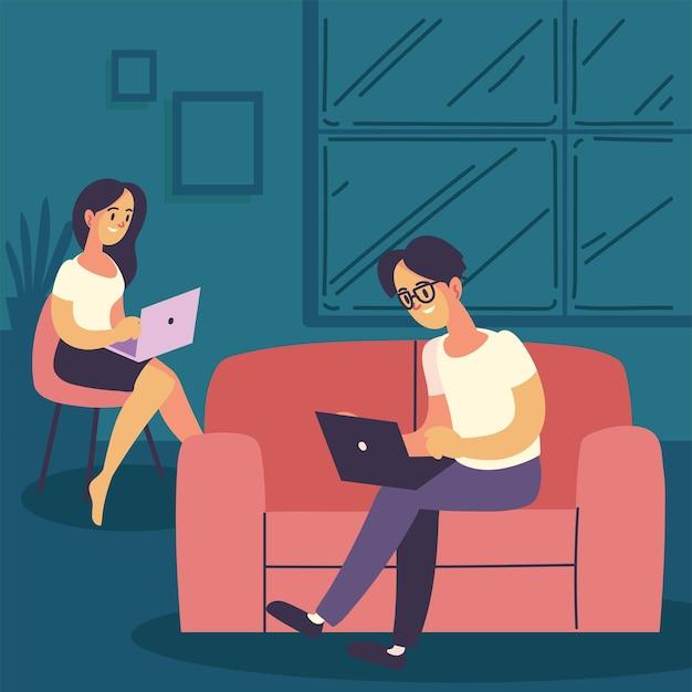 Indépendants homme et femme travaillant