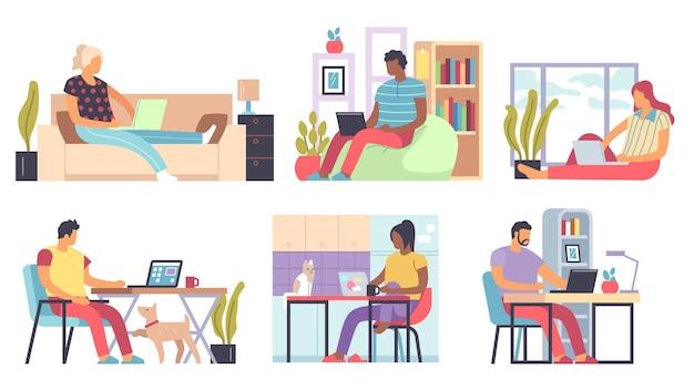 Indépendants, hommes et femmes travaillant à distance à domicile sur des ordinateurs portables et des ordinateurs