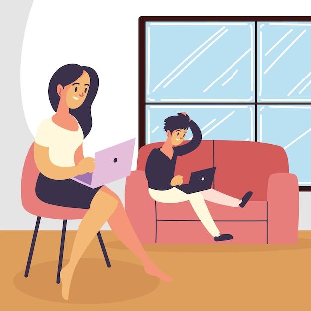 Indépendants travaillant à domicile