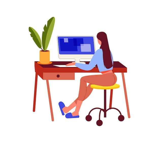 Les indépendants travaillent la composition avec une fille assise à table avec un ordinateur à la maison