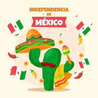 Independencia de méxico avec cactus et chapeau