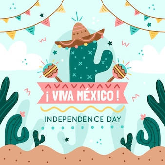 Independencia de méxico avec cactus et guirlandes