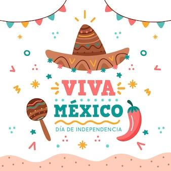 Independencia de méxico avec chapeau et maracas
