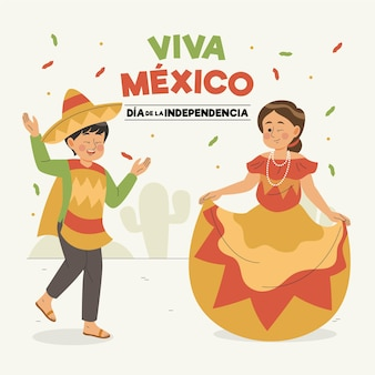 Independencia de méxico dessiné à la main