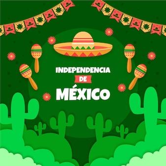 Independencia de méxico avec guirlandes et chapeau