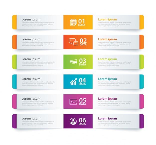 Index de papier à onglet infographie avec 6 modèles de données