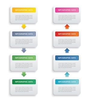 Index de papier rectangle d'infographie avec 8 modèles de données. peut être utilisé pour la mise en page du flux de travail, l'étape commerciale, la bannière, la conception web.