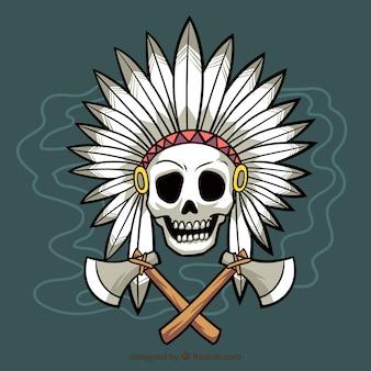 Indian fond du crâne avec des axes dessinés à la main