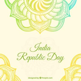 Indian fond de jour république avec mandalas décoratifs