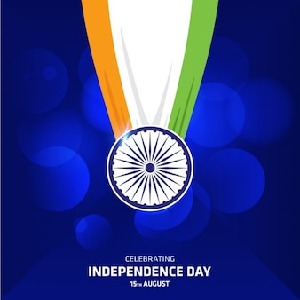 Indian tricolor drapeau pendentif sur fond bleu