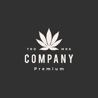Indica cannabis hipster vintage logo icône illustration