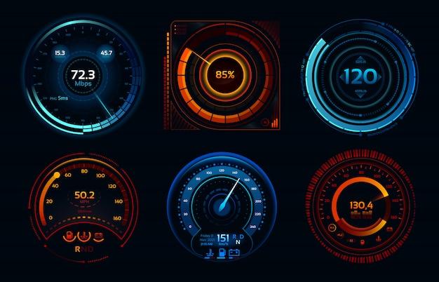 Indicateurs de compteur de vitesse. compteurs de puissance, étages de compteur de vitesse de connexion internet rapide ou lente