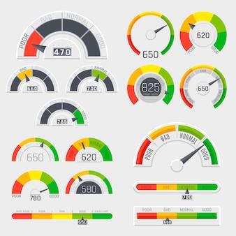 Indicateurs de score de crédit avec des niveaux de couleur allant de médiocre à bon. jauges avec ensemble de vecteurs échelle de mesure. compteur de crédit d'évaluation bon et mauvais, illustration du niveau de crédit de l'indicateur