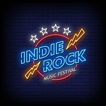 Indie rock neon signs style vecteur de texte