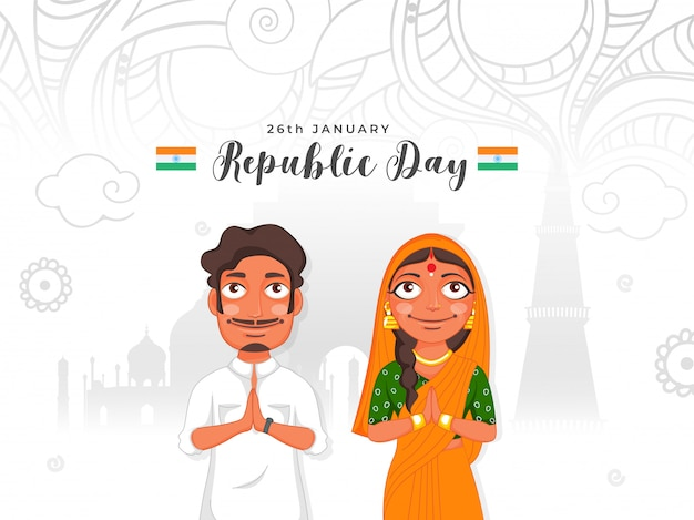 Indien homme et femme disant namaste