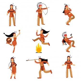 Indiens amérindiens personnages en vêtements traditionnels dans différentes situations illustrations détaillées colorées