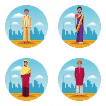 Indiens femmes et hommes indiens