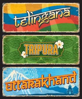 Les indiens de telingana, tripura et uttarakhand déclarent des plaques ou des bannières vintage avec drapeau, ornement et sommet de la montagne. signes âgés de vecteur, points de repère de destination de voyage de l'inde. plaques usées grunge rétro