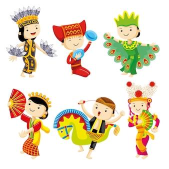 Indonésie danse traditionnelle avec des personnages mignons