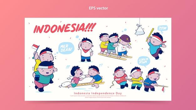 Indonésie independence day set vector illustration de dessin animé