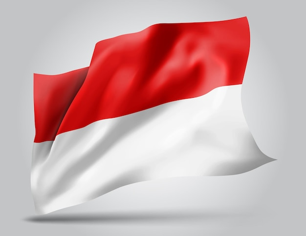 Indonésie, monaco, drapeau vectoriel avec des vagues et des virages ondulant dans le vent sur fond blanc.