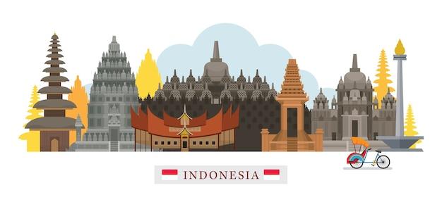 Indonésie skyline monuments