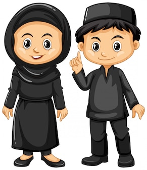 Indonésien garçon et fille en costumes noirs