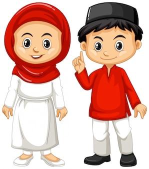 Indonésien garçon et fille en tenue traditionnelle