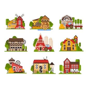 Industrie agricole et constructions de campagne illustrations isolées sur fond blanc.