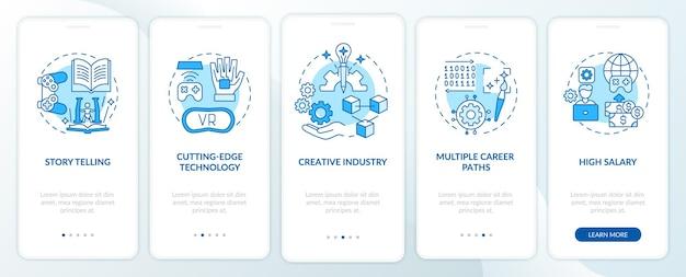 L'industrie de la conception de jeux profite de l'écran de la page de l'application mobile d'intégration avec des concepts