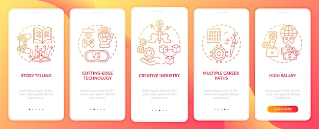L'industrie de la conception de jeux profite de l'écran de la page des applications mobiles d'intégration avec des concepts. plusieurs étapes de parcours de carrière. modèle d'interface utilisateur avec couleur rvb