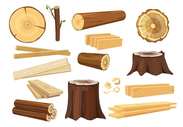 Industrie du bois. troncs de bois empilant la foresterie et la collecte des branches.