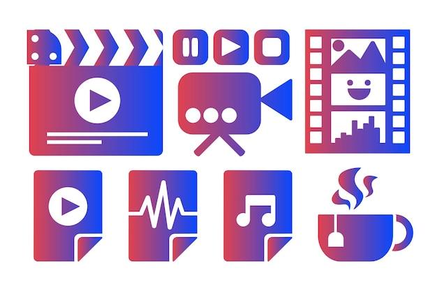 Industrie du cinéma, jeu d'autocollants vectoriels de cinéma. loisirs à domicile, loisirs multimédia. repos confortable à la maison