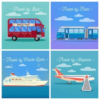 Industrie du tourisme. voyage en train. voyage en bus. voyage de paquebot de croisière. voyage en avion.