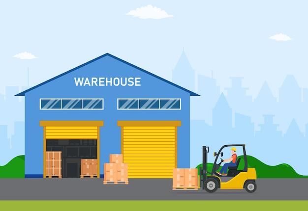 Industrie des entrepôts avec bâtiments de stockage, chariot élévateur et rack avec boîtes.