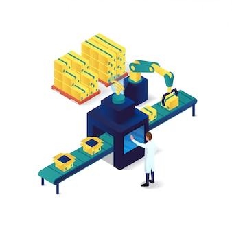 Industrie isométrique de l'emballage et technologie illustration isométrique