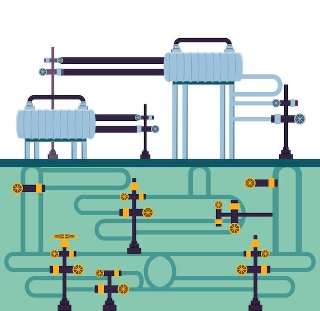 L'industrie pétrolière avec la structure du pipeline