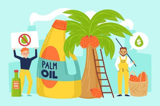 Industrie de production d'huile de palme dessinée avec une personne qui protestait