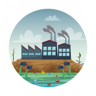 Industrie d'usine polluant la scène de l'eau