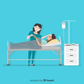 Infirmière aidant le patient