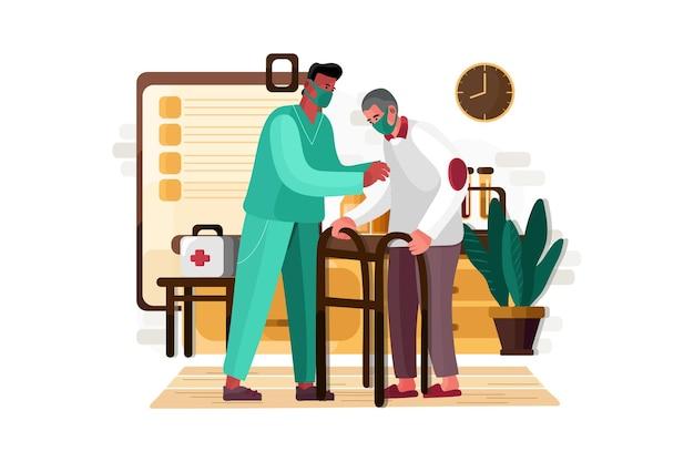 Infirmière aidant le vieil homme âgé illustration