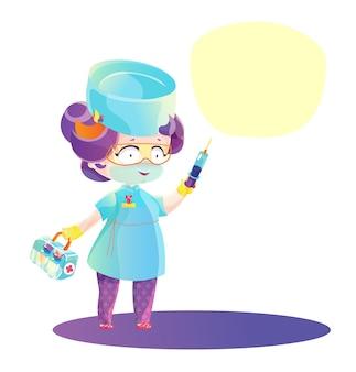 Infirmière anime dessin animé aux cheveux violets