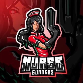 Infirmière artilleurs logo mascotte esport