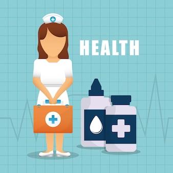 Infirmière en bonne santé valise bouteille médicament