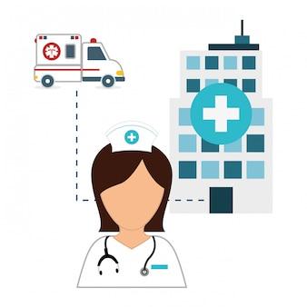 Infirmière dans la conception d'icône d'hôpital