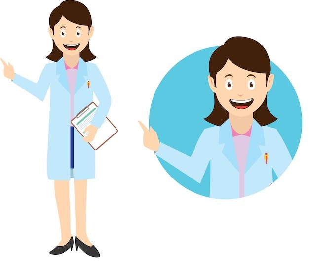 Infirmière en dessin animé style vecteur plat